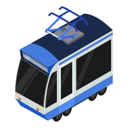 Modern tram car icon. Isometric of modern tram car vector icon for web design isolated on white background Illustration