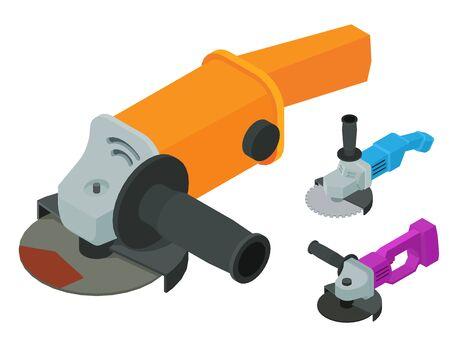 Winkelschleifer-Symbole gesetzt. Isometrischer Satz Winkelschleifer-Vektorikonen für Webdesign lokalisiert auf weißem Hintergrund Vektorgrafik