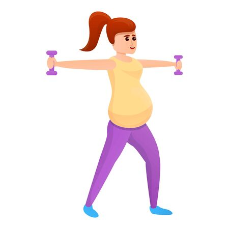 Pregnant girl with dumbbells icon. Cartoon of pregnant girl with dumbbells vector icon for web design isolated on white background