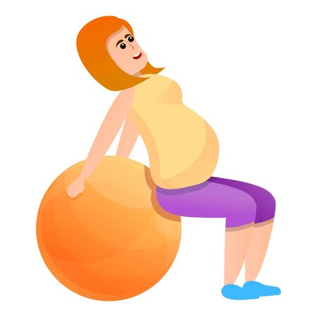 Pregnant girl and fitness ball icon. Cartoon of pregnant girl and fitness ball vector icon for web design isolated on white background