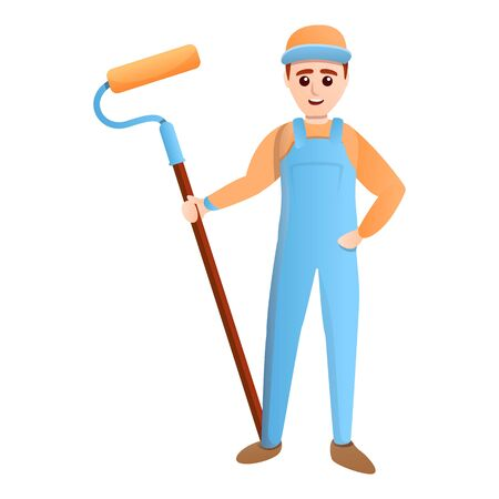 House painter guy with tool icon. Cartoon of house painter guy with tool vector icon for web design isolated on white background