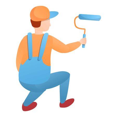 Painter guy working squatting icon. Cartoon of painter guy working squatting vector icon for web design isolated on white background