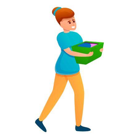 Woman take clothes basket icon. Cartoon of woman take clothes basket vector icon for web design isolated on white background