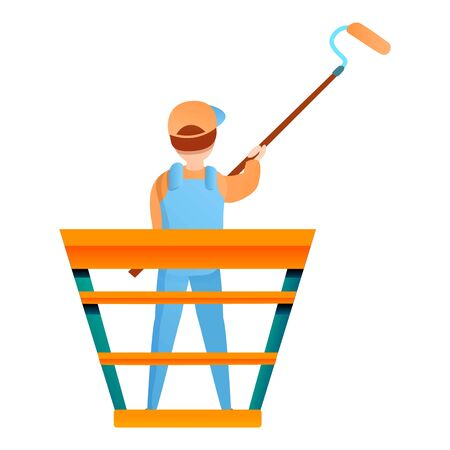 House painter guy works height icon. Cartoon of house painter guy works height vector icon for web design isolated on white background Ilustracja