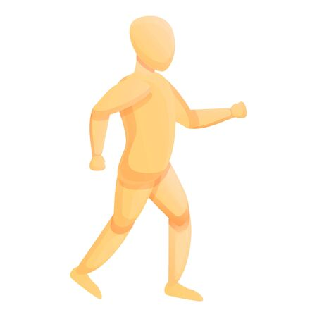 Running kid mannequin icon. Cartoon of running kid mannequin vector icon for web design isolated on white background Vectores