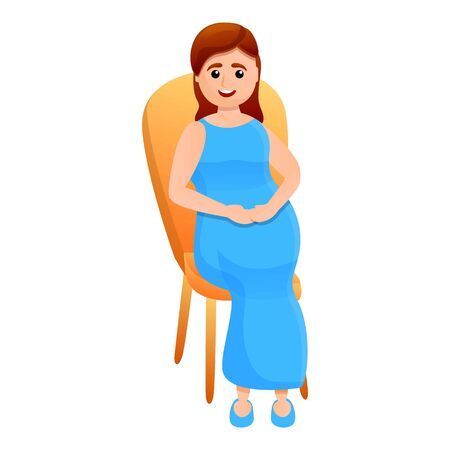 Pregnant girl on a chair icon. Cartoon of pregnant girl on a chair vector icon for web design isolated on white background