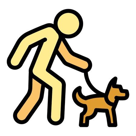 Senior man walking dog icon. Outline senior man walking dog vector icon for web design isolated on white background Ilustração