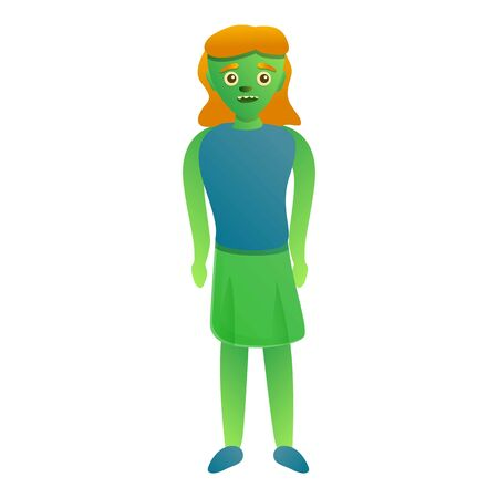 Woman zombie icon. Cartoon of woman zombie vector icon for web design isolated on white background