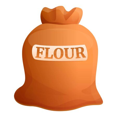 Flour sack icon. Cartoon of flour sack vector icon for web design isolated on white background Vectores