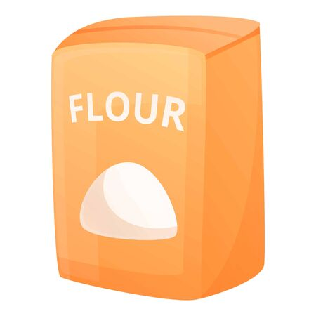 Flour paper package icon. Cartoon of flour paper package vector icon for web design isolated on white background