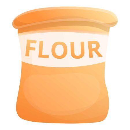 Fresh flour sack icon. Cartoon of fresh flour sack vector icon for web design isolated on white background