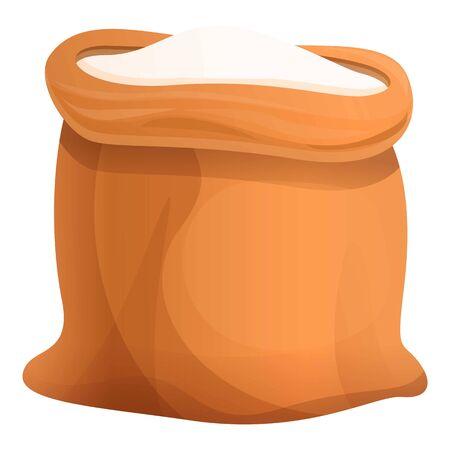 Open flour sack icon. Cartoon of open flour sack vector icon for web design isolated on white background