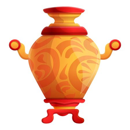 Ornamental samovar icon. Cartoon of ornamental samovar vector icon for web design isolated on white background Illustration