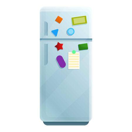 Réfrigérateur avec icône autocollants magnétiques. Caricature de réfrigérateur avec des autocollants magnétiques pour l'icône vecteur web design isolé sur fond blanc