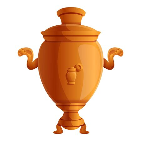 Gold samovar icon. Cartoon of gold samovar vector icon for web design isolated on white background