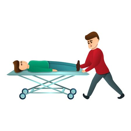 Hospital cart bed icon. Cartoon of hospital cart bed vector icon for web design isolated on white background