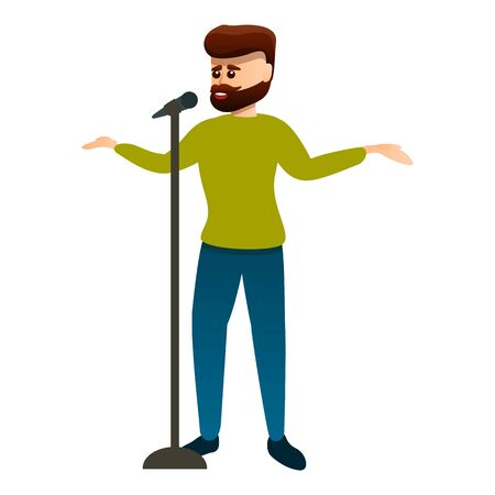 Bearded singer icon. Cartoon of bearded singer vector icon for web design isolated on white background
