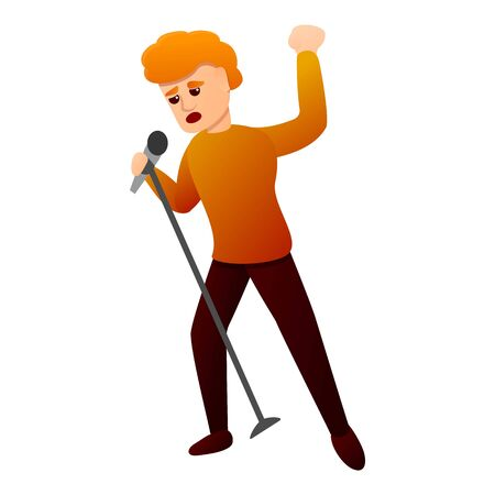 Red hair singer icon. Cartoon of red hair singer vector icon for web design isolated on white background Archivio Fotografico - 137368474