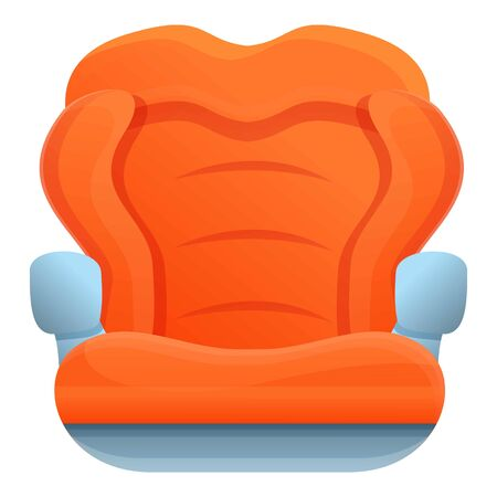 Red baby car seat icon. Cartoon of red baby car seat vector icon for web design isolated on white background Ilustração