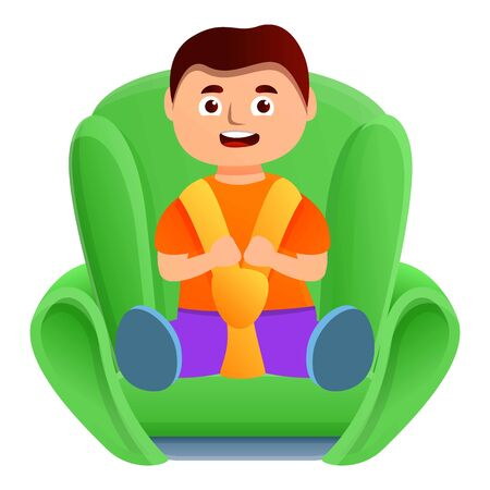 Kid boy in car seat icon. Cartoon of kid boy in car seat vector icon for web design isolated on white background Archivio Fotografico - 137421631