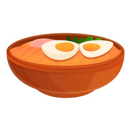 Egg ramen icon. Cartoon of egg ramen vector icon for web design isolated on white background Illusztráció