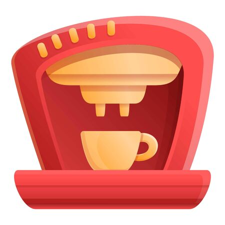 Red coffee machine icon. Cartoon of red coffee machine vector icon for web design isolated on white background
