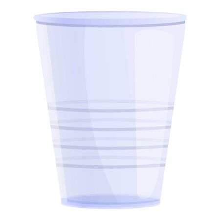 Transparent plastic cup icon. Cartoon of transparent plastic cup vector icon for web design isolated on white background