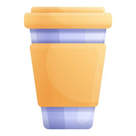 Yellow plastic cup icon. Cartoon of yellow plastic cup vector icon for web design isolated on white background 일러스트
