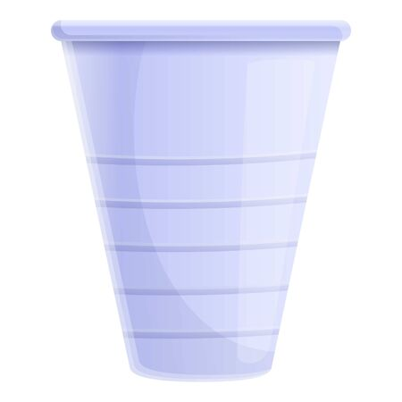 Small plastic cup icon. Cartoon of small plastic cup vector icon for web design isolated on white background