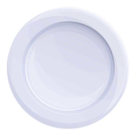 Round plastic plate icon. Cartoon of round plastic plate vector icon for web design isolated on white background
