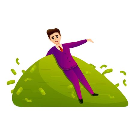 Millionaire on pile cash icon. Cartoon of millionaire on pile cash vector icon for web design isolated on white background
