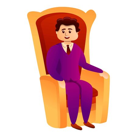 Millionaire in king chair icon. Cartoon of millionaire in king chair vector icon for web design isolated on white background