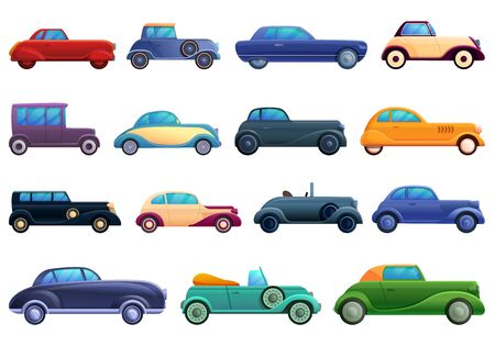 Car old icons set. Cartoon set of car old vector icons for web design
