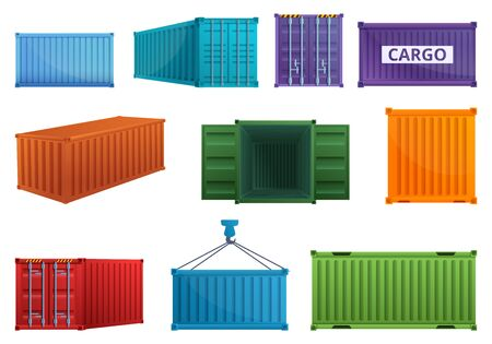 Cargo container icons set. Cartoon set of cargo container vector icons for web design
