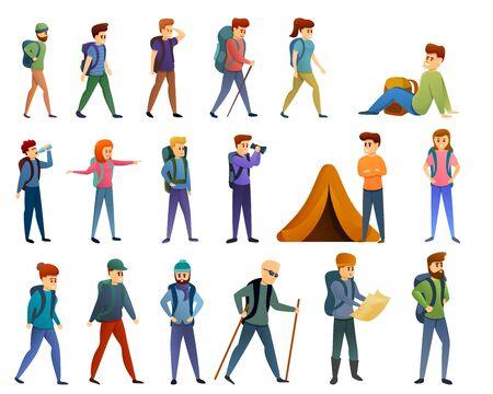 Conjunto de iconos de senderismo. Conjunto de dibujos animados de iconos de vector de senderismo para diseño web