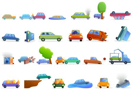 Car accident icons set. Cartoon set of car accident vector icons for web design