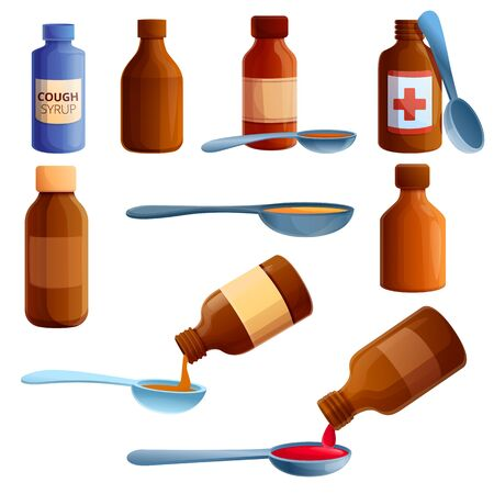 Cough syrup icons set. Cartoon set of cough syrup vector icons for web design