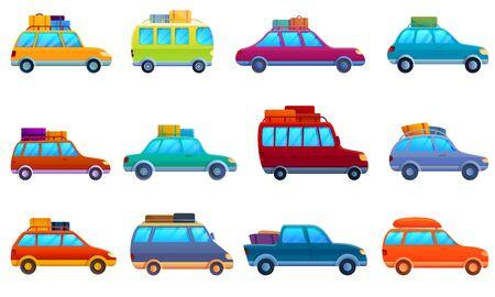 Car trip icons set. Cartoon set of car trip vector icons for web design