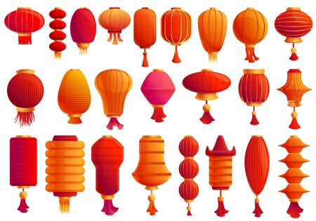 Chinese lantern icons set. Cartoon set of chinese lantern vector icons for web design