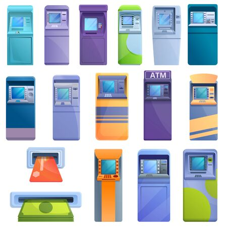 Atm machine icons set. Cartoon set of atm machine vector icons for web design 일러스트