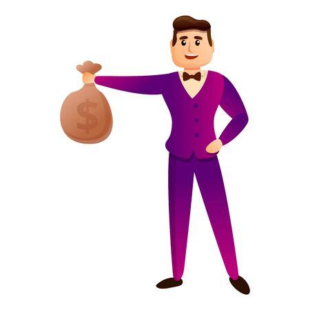 Money bag millionaire icon. Cartoon of money bag millionaire vector icon for web design isolated on white background Ilustração