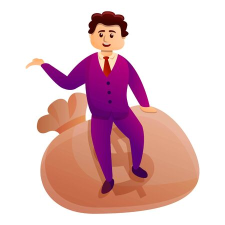 Millionaire sit on money bag icon. Cartoon of millionaire sit on money bag vector icon for web design isolated on white background