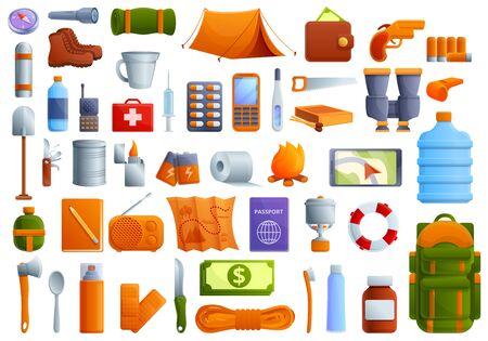 Ensemble d'icônes de survie. Ensemble de dessins animés d'icônes vectorielles de survie pour la conception de sites Web