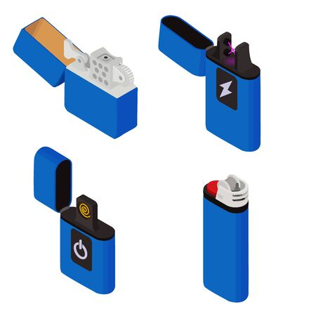 Cigarette lighter icons set. Isometric set of cigarette lighter vector icons for web design isolated on white background
