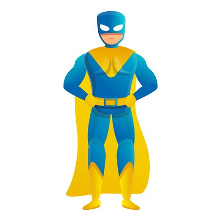 Blue yellow superhero icon. Cartoon of blue yellow superhero vector icon for web design isolated on white background