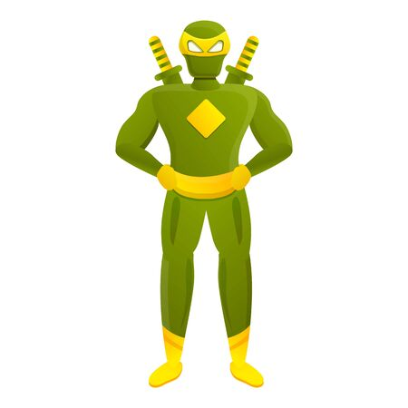 Green ninja superhero icon. Cartoon of green ninja superhero vector icon for web design isolated on white background