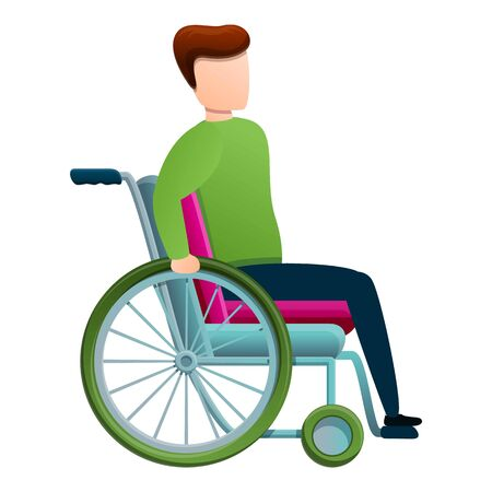 Support man in wheelchair icon. Cartoon of support man in wheelchair vector icon for web design isolated on white background 일러스트