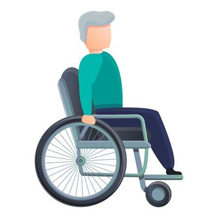Senior man in wheelchair icon. Cartoon of senior man in wheelchair vector icon for web design isolated on white background