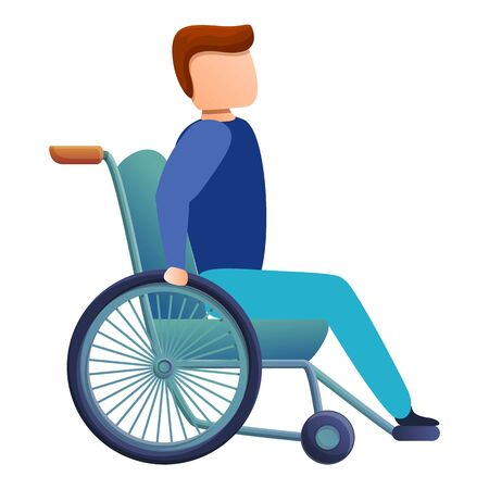 Man in wheelchair icon. Cartoon of man in wheelchair vector icon for web design isolated on white background