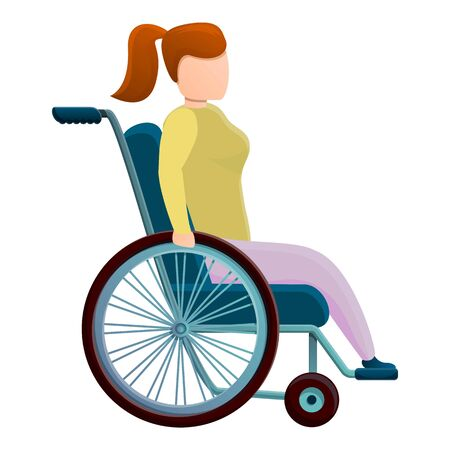 School girl in wheelchair icon. Cartoon of school girl in wheelchair vector icon for web design isolated on white background Vettoriali